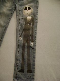 Hand painted jeans by Daniellebydesign on Etsy, $40.00