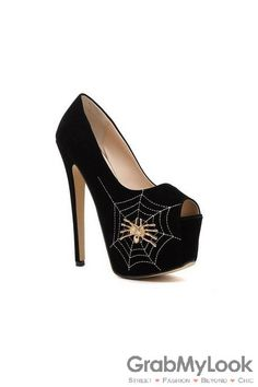 GrabMyLook Suede Open Toe Spider Net Embroidery Platforms High Stiletto Heels Shoes