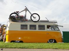 Neat custom lowered van, love the custom bike too.
