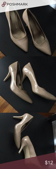 BCBG Patent Leather Heels This is the best pair of heels ever. They're too tight on me now. Definitely going to buy another pair in a half size up because they're good quality, comfy and classic. Worn, but heel is in good shape. Tagged a 7, but fit a 6.5 best. BCBG Shoes Heels