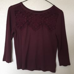 Soft lace mid sleeve shirt. Dark maroon- ends right above belt area. Mid sleeve. Fits really well for a 00. Only worn once. Looks brand new. Tops Tees - Short Sleeve