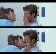 Jean-Paul Belmondo and Anna Karina in Pierrot le fou (1965)