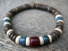 Mens bracelet hand dyed bone and coconut shell by thehappymushroom