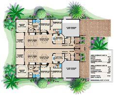 First Floor Plan of Florida   Multi-Family Plan 60703
