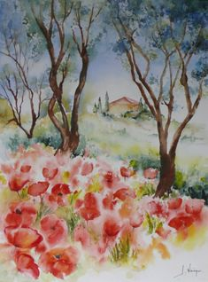 Poppies in Provence. Watercolor Sky, Watercolor Landscape, Watercolor Paintings, Provence, Watercolor Projects, Poppies, Projects To Try, Rainbow, Nature