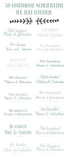 50 Kostenlose Schriftarten Für Eure Hochzeitspapeterie   50 Free Fonts For  Your Wedding Stationary