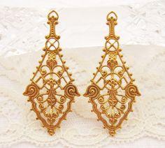 Large Ornate Art Nouveau Filigree Earring by alyssabethsvintage