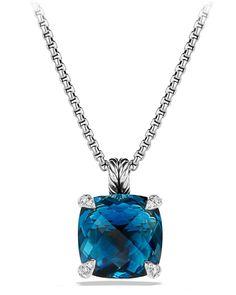 David Yurman Argent Sterling 925 CHATELAINE Collier Pendentif avec topaze bleue