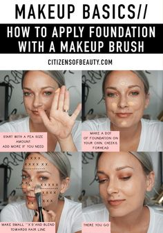 Check out these easy tips on applying foundation with a makeup brush! I think the first basic makeup tip you need to know is how to apply foundation with makeup brush. So, I am going to teach how and walk you through the. Makeup Tutorial Foundation, Foundation Tips, How To Apply Foundation, Foundation Brush, Flawless Foundation Application, Makeup Hacks Foundation, Basic Makeup Tutorial, Beauty Skin, Beauty Makeup
