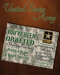 US Military Baby Shower Digital Invitation (Army) by six8twelvedesigns
