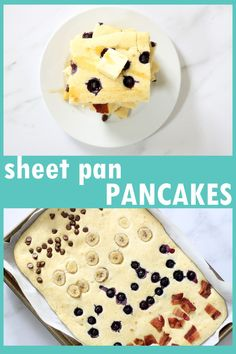 Easy breakfast idea for a crowd, holidays, or freeze for the weekdays: Sheet pan pancakes with toppings of your choice. Video how-tos.  #pancakes #SheetPanPancakes #Breakfast