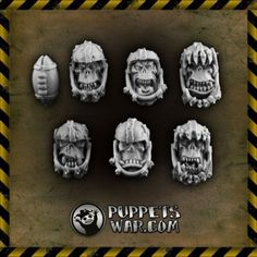 Puppets War - Orc Fantasy Football Heads Football Heads, Blood Bowl Miniatures, Fantasy Football, Puppets, Minis, Hand Puppets, Doll, Miniatures, Sock Puppets