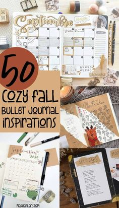 50  inspirations to create a cozy fall theme in your Bullet Journal. Stunning pages created with kraft paper to bring that extra Fall feel to your pages. Cover pages, weekly spreads, habit trackers, and more amazing inspirations for your Fall Bullet Journal setup. #mashaplans #bulletjournal #bujoinspo #bujo #fallbujo
