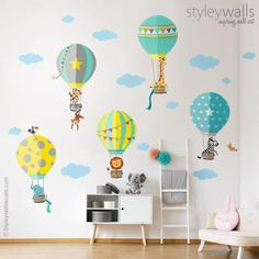Air Balloons Wall Decal, Hot Air Balloons Wall Stickers, Jungle Safari Animals Wall Decal Stickers, Air Balloons Kids Nursery Baby Room Decor - Our Hot Air Balloons with Jungle Animals Wall Decals would be a great addition to your nursery or p - Animal Wall Decals, Wall Decal Sticker, Wall Stickers, Balloon Wall, Hot Air Balloon, Balloons, Baby Room Wall Decor, Nursery Room, Baby Decor