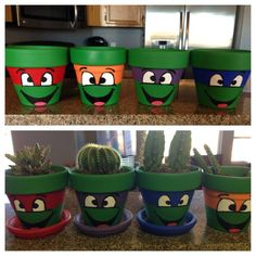 Paint Flower Pots to Look Like Teenage Mutant Ninja Turtles - Movie comes out Augst 8, 2014 so be ready to get painting!