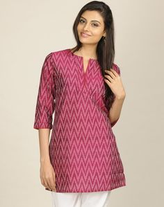 Silk Cotton Ikat Contrast Piping Tunic