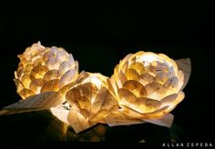 diy paper + led lotus   table centrepieces   zepeda