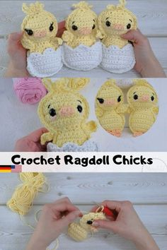 Crochet Easter Chicks - Free pattern and video. English - Deutsch - Häkelküken - - Are you looking for a cute and quick crochet pattern for Easter? These little ragdoll chicks are easy and quick to make. In German and English. Quick Crochet Patterns, Easter Crochet Patterns, Crochet Patterns Amigurumi, Crochet Toys, Crocheted Animals, Amigurumi Toys, Crochet Clothes, Crochet Easter, Crochet Bunny