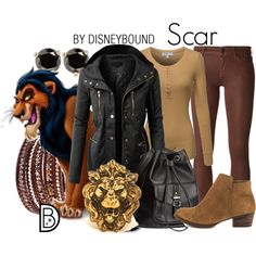 Scar by leslieakay on Polyvore featuring LE3NO, Koral, Jessica Simpson, H&M, Chan Luu, Kate Spade, disney, disneybound and disneycharacter