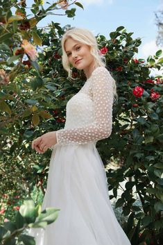 Long sleeve top for wedding dress by Jenny Yoo
