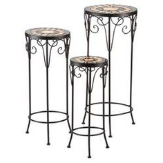Cantabria 3 Piece Plant Stand Set in Black