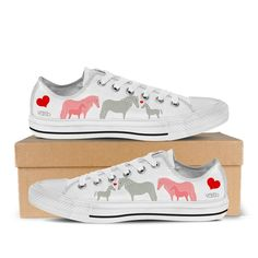 Cute Horse - Women's Low Top Canvas Sneakers in White