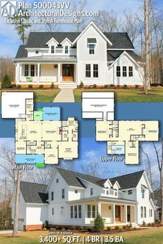 Make sunroom a school room and add door to study for a nursery/guest room! Architectural Designs Exclusive Farmhouse House Plan has 4 beds Dream House Plans, House Floor Plans, My Dream Home, Farmhouse Plans, Farmhouse Design, Vintage Farmhouse, Modern Farmhouse, Farmhouse Style, Future House