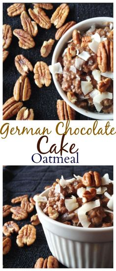 This #healthy German Chocolate Cake Oatmeal is the best oatmeal you will ever eat! It tastes like cake and it guiltfree! #glutenfree #vegan