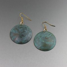 Unique Green Patinated Copper Disc Earrings  Presented by #ILoveCopperJewelry #Copper #stylish https://www.ilovecopperjewelry.com/green-patinated-copper-disc-earrings.html