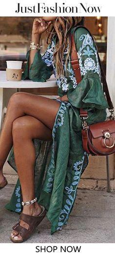 4202d4c078 $45.99 V Neck Women Summer Dresses Daily Vintage Tribal Dresses Summer  Dresses For Women, Bohemian
