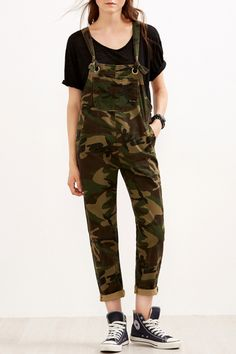 a93f884118 Multi Camouflage Print Side Pocket Chic Overalls