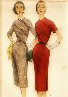 Vintage Simplicity 1240 UNCUT Misses One Piece Dress with Diagonal Seam Details Sewing Pattern Size 16