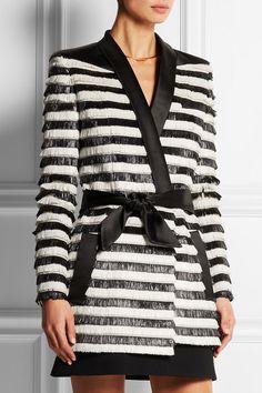 BalmainSatin trimmed striped raffia jacket