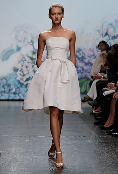 Strapless Knee Length Satin Wedding Dress #short_wedding_dress #modern_wedding_dress #wedding