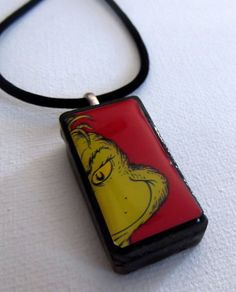 Grinch Christmas Altered Art Domino Necklace Red | eBay