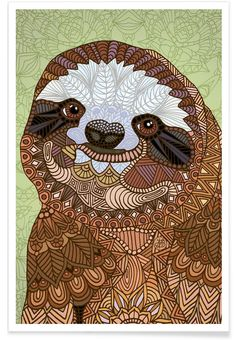Smiling Sloth als Premium Poster von Angelika Parker   JUNIQE