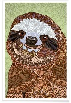 Smiling Sloth als Premium Poster von Angelika Parker | JUNIQE