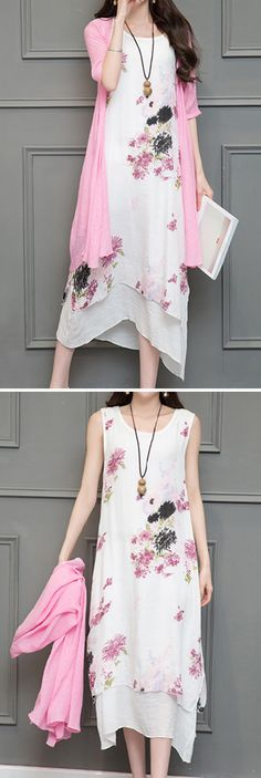 US$25.90 Vintage Printed O-Neck Half Sleeve Two-Piece Set Vintage Dresses