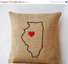 10% OFF Burlap Pillows- State Pillow- Illinois pillow- Personalized Pillow- Customized Cushion- Gift- 14x14- Burlap Cushion- California Pill