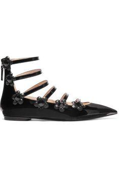 Fendi - Embellished Floral-appliquéd Patent-leather Point-toe Flats - Black - IT39.5
