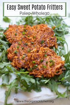 Recipes Snacks Clean Eating Easy Sweet Potato Fritters-Paleo/Whole 30 Paleo Whole 30, Whole 30 Recipes, Paleo Recipes, Real Food Recipes, Paleo Food, Paleo Diet, Paleo Meals, Cooking Recipes, Easy Cooking