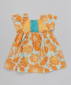 Take a look at the Orange Floral Peasant Dress - Toddler & Girls on #zulily today!