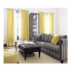 Yellow/ Grey Living Room. ADORE.