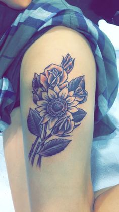 Sunflower black and gray tattoo, slc tattoo convention 2016