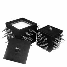black leather spike candle