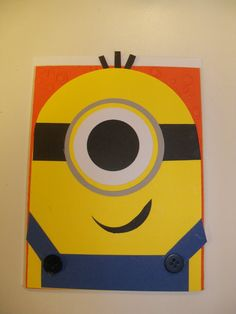 What a fun way to celebrate a Discpicable Me fan but with Minion Card. The Minion was pieced. Minions, Minion Card, Painting For Kids, Diy Painting, Painting & Drawing, Disney Canvas Paintings, Valentines Art, Pottery Painting, Diy Canvas