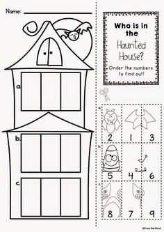 Halloween Haunted house gluing flap activity page Halloween Worksheets, Halloween Math, Halloween Crafts For Kids, Halloween Activities, Holiday Activities, Halloween Themes, Fall Preschool, Preschool Learning, Kindergarten Math