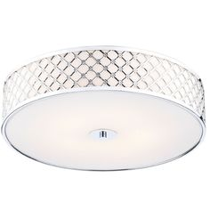 The Civic 5lt Flush Ceiling Light by Dar has a Metal Fretwork outer frame with an opaque glass diffuser which gives a unique modern feel and is finished with Polished Chrome
