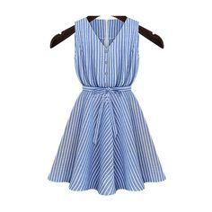 V Neck Belt Striped Dress ($17) ❤ liked on Polyvore featuring dresses, blue, a line dress, short dresses, blue striped dress, short sleeve dress and embellished dresses