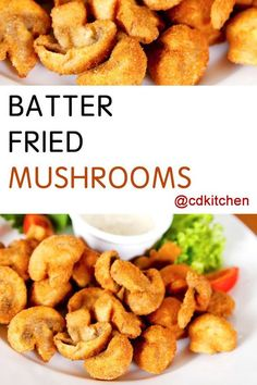 Make this restaurant-worthy appetizer in your own kitchen. A parmesan, egg and flour batter gives the mushrooms that perfectly crispy golden-brown fry. Serve with some herb aioli for a real treat. Side Dish Recipes, Veggie Recipes, Fish Recipes, Cooking Recipes, Greek Recipes, Side Dishes, Recipies, Deep Fried Mushrooms, Stuffed Mushrooms